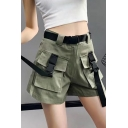 Girls Cool Street Fashion Buckled Flap Pocket Front Straight Fit Work Shorts