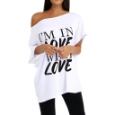 Summer Cool Funny Letter I'M IN LOVE WITH LOVE Printed One Shoulder Casual Oversized T-Shirt