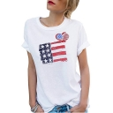 Trendy Simple Heart Flag Printed Round Neck Short Sleeve Loose Fitted T-Shirt