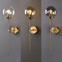 Post Modern Sphere Shade Wall Lighting Glass 1 Bulb Wall Lamp in Amber/Clear/Smoke
