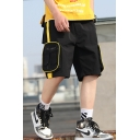 Summer New Fashion Unique Zipped Pocket Design Contrast Tape Patched Graphic Printed Casual Cargo Shorts for Men