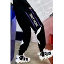 Men's Street Style Fashion Letter Printed Loose Fit Black Casual Track Pants