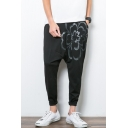 Men's Stylish Floral Printed Drop-Crotch Black Casual Cotton Harem Pants