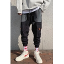 Men's Trendy Multi-pocket Designed Cross Tape Patched Back Casual Cotton Cargo Pants