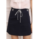 Girls Simple Floral Embroidery Lace-Up Front Mini A-Line Skirt