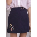 Girls Fashion Floral Embroided Double-Button Waist Navy Blue Mini A-Line Skirt