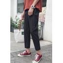 Men's Trendy Stripe Pattern Casual Cropped Dress Pants