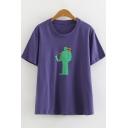 Girls Funny Cartoon Green Figure Printed Short Sleeve Purple Tee