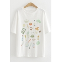 Funny Cartoon Tableware Pattern Round Neck Short Sleeve White Tee