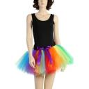 Womens Unique Rainbow Color Bow-Tied Waist Mini Tulle Tutu Skirt