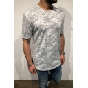 Guys Hot Popular Camo Printed Round Neck Short Sleeve Sport Fitted Hipster T-Shirt