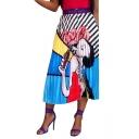 Summer Women New Stylish Causal Cartoon Print Midi Elastic Waist Pleated Skirt