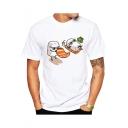 Summer Funny Cartoon Sushi Pattern Round Neck Short Sleeve White Tee