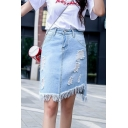 Summer Women's High Rise Distressed Ripped Fringed Asymmetric Hem Mini Blue Denim Skirt