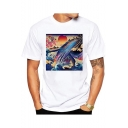 Trendy Ukiyo-e Style Wave Fish Print Short Sleeve White Regular Fit T-Shirt