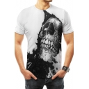 Mens Popular Cool Skull Print Basic Short Sleeve White Tee