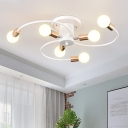 Bare Bulb Ceiling Lamp with White Swirl Arm Modern Design Metal 6 Lights Lighting Fixture