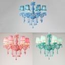 Fabric Tapered Shade Chandelier with Crystal Shop 6 Lights Macaron Suspension Light in Blue/Green/Pink