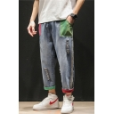 Men's Cool Fashion Colorblocked Rolled Cuffs Ripped Detail Blue Casual Loose Jeans