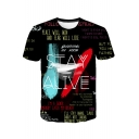 STAY ALIVE Letter Graffiti Printed Round Neck Short Sleeve Black T-Shirt