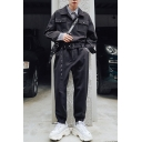 New Stylish Simple Plain Long Sleeve Button Down Trendy Coveralls for Men