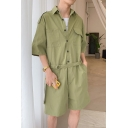 Guys New Popular Solid Color Half-Sleeved Button-Front Casual Fashion Work Coveralls Rompers