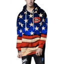 Cool Lip Star Striped Flag Printed Long Sleeve Loose Fitted Pullover Drawstring Hoodie