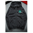 A HAPPY DAY Weed Logo Print Long Sleeve Zip Up Hooded Casual Lightweight Jacket