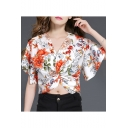 Womens Fancy Floral Pattern Bell Sleeve V-Neck Twist Front Crop Chiffon Blouse