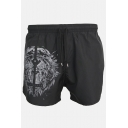 Men's Summer Trendy Cool Tiger Printed Elastic Waist Black Casual Quick-drying Athletic Shorts