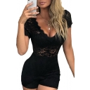 Summer Girls New Stylish Sexy Simple Plain Lace-Trimmed Plunging V-Neck Short Sleeve Bodycon Romper