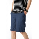 Men's Summer Trendy Simple Plain Casual Beach Shorts Relaxed Linen Shorts