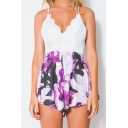 Girls Fashion Hot Sexy lace Trimmed Floral Print Patch Straps Sleeveless Backless Romper