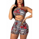 Womens Hot Fashion Sexy Foral Print Halter Neck Strap Back Slinky Romper for Night Club