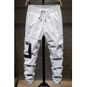 Guys New Stylish Colorblock Flap Pocket Side Drawstring Waist Elastic Cuffs Casual Cotton Cargo Pants