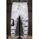 Guys New Stylish Colorblock Flap Pocket Side Drawstring Waist Elastic Cuffs Casual Cotton Cargo Pants
