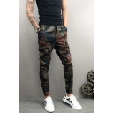 Guys New Fashion Unique Printed Stretched Slim Fit Casual Drawstring Waist Pencil Pants