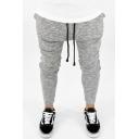 Men's New Fashion Simple Plain Drawstring Waist Low Crotch Gray Sweatpants Pencil Pants