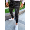 Men's Popular Fashion Plaid Pattern Drawstring Waist Elastic Cuffs Casual Slim Fit Pencil Pants