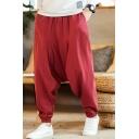 Men's Chinese Style Simple Plain Loose Fit Elastic Cuffs Baggy Drop-Crotch Linen Harem Pants
