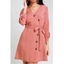 Womens Elegant Simple Plain V-Neck Long Sleeve Tied Waist Button Front Mini A-Line Dress