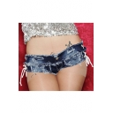 Hot Popular Womens Sexy Raw Hem Hollow Lace-Up Side Blue Hot Pants Denim Shorts