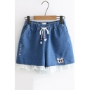 Girls Cute Simple Embroidery Lace Trimmed Drawcord-Waist Loose Leisure Denim Shorts