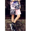 Summer Girls Fashion Two-Tone Colorblock Letter Print Casual Sport Shorts