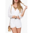 Womens Hot Stylish White Lace Cutout Plunge V-Neck Surplice Romper