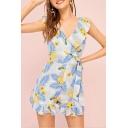 Summer Trendy Ruffle Sleeve Hem Floral Printed V Neck Tie Waist Loose Romper