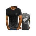 Fashion Stark Wolf Head Print Round Neck Short Sleeve Fitted T-Shirt