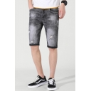 Men's Summer New Fashion Simple Plain Grey Slim Fit Denim Shorts