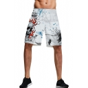 Men's New Stylish Creative Fire Letter Skull Halloween 3D Printed White Casual Relaxed Shorts
