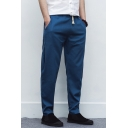 Guys Simple Fashion Solid Color Drawstring Waist Casual Loose Linen Tapered Pants